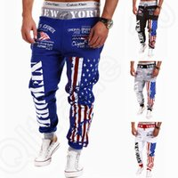american flag sweats - Men American flag Trousers Personality Casual Pants Drawstring Jogging Sweat Pants Overalls Sweatpants Hip Hop Harem Pants OOA200