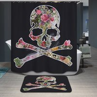 Wholesale Personalized Skull Print Shower Curtains Waterproof Polyester Cartoon Bath Curtain