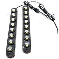 Wholesale One Pair LED Universal Aluminium LED W Car Daytime Running Light DRL Fog Warning Bumper Decorative eagle eyes Lamp
