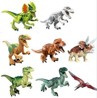 Wholesale 8pcs set Plastics Jurassic World Dinosaur Building Blocks Sets Model Minifigures Jurassic Park Bricks Toys