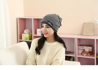 Wholesale Korean version of ladies knitted wool winter Hat scarf thickened warm wool hat boys outdoor Hat out toe cap