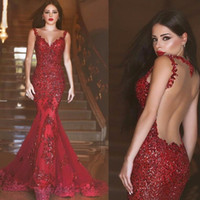 Wholesale Arabic Red Lace Long Evening Dress V Neck Hollow Back Mermaid Formal prom Dresses Evening Gown Sequins Appliques Robe De