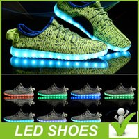 led point - 2016 new Top quality LED luminous shoes Kanye West with coconut paragraph casual shoes for Unisex running shoes big and free DHL shipping