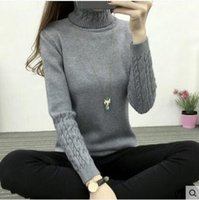 bamboo headsets - Autumn and winter new women s Korean version of the high necked sweater women s bottoming shirt hemp headset thickening Slim was thin sw