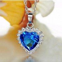 Livraison gratuite élégant 925 coeur en argent sterling de pendentif océan avec topaz zircon bleu pour ami cadeau d'anniversaire PS02820