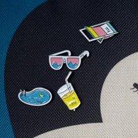 beach chair china - X099 Cartoon Summer Drink Sunglasses Swimming Pool Beach chair Metal Brooch Pins Button Pins Fashion