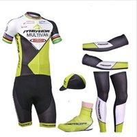 5 pedazos / porción 100% poliéster PRO BICICLETA desgaste de ciclo CAMISETAS cortocircuitos fijados equipo 2015 Mérida Ciclismo ciclo Jersey traje de pantalones cortos en bicicleta clohthing
