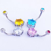 belly button round - 4pcs Fashion Retail Round Zircon belly ring body piercing jewelry belly button ring L surgical steel nickel free