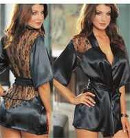 Wholesale Black Women Silk Lace Underwear Sexy Kimono Gown Bath Robe Lingerie Floral See Through Plus Size Sleepwear Sauna G string Pajamas HMS17