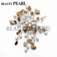 agate brooches - Picture Jasper Stone Lapis Lazuli Red Agate White Freshwater Pearl Handmade Brooch Women Wedding Bridal Anniversary Accessories