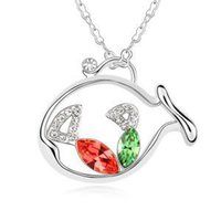 animal crush - The new fashion necklace hit the shelves Original short fashion female crystal gifts Crush on fish G043
