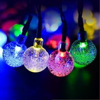 Wholesale Solar energy lamp series of meters led bubble ball waterproof outdoor Christmas Holiday lights string
