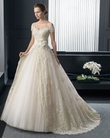 Wholesale 100 Real Photo Wedding Dresses Picture Princess Tulle with Lace Off the Shoulder Short Sleeves Sweetheart Long Vestidos Novia