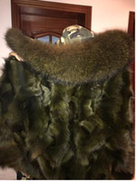 big foxes - Real picture olive Fox fur liner camouflage jacket women mini parkas wirh big raccoon fur collar