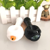 big eye hands - newest design Heady glass pipe fumed glass smoking pipe white and black big eye of dichroic ink hand pipes spoon pipe
