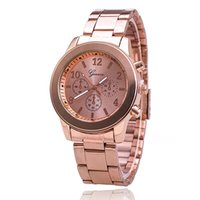 belt gold metal - Foreign trade hot style Geneva Geneva code three stainless steel metal belt quartz watch