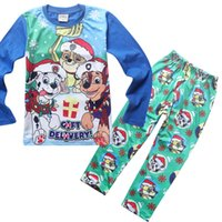 animal print pyjamas - 2016 T Children Christmas pajamas set long sleeve pyjamas Father Christmas dog print cotton sleepwear Kids shirts trousers outfit