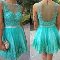 Discount jewel neckline homecoming dress - 2016 Cheap Sexy Mint Green Homecoming Dresses Tulle Illuision Neckline Short Mini Length Sweet 16 Prom Party Gowns With Beaded Lace Applique