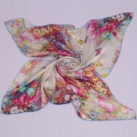 Cheap 5pc Mulberry Silk Female Big Square Silk Scarf,Women 100% Silk Crepe Satin Plain Large Butterfly Silk Scarf Shawl For Spring,Autumn