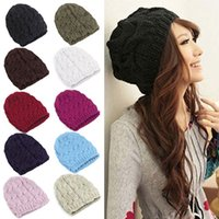 Beanie/Skull Cap Yarn Dyed Casual 2016 New Women Ladies Cable Knitted Winter Hats bonnet femme Cotton Slouch Baggy Cap Crochet Beanie gorros Hat for women Z1 Q1