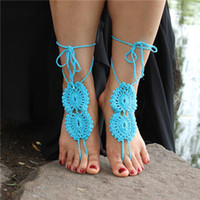 Wholesale 2016 New Hand Made Wedding Anklets Ornament Ankle Bracelet Beach Anklets Shoes Fashion Lady Crochet Barefoot Sandals