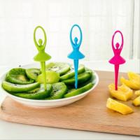 Wholesale 6Pcs set high quality Plastic ballet modelling Design Salad Fruit Cake Dessert Fork Tableware Set kitchen Tools