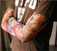 Wholesale Elastic Fake Temporary Tattoo Sleeve D Art Designs Body Arm Leg Stockings Tattoo Mix Cool Men women New