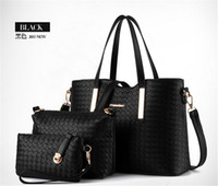 bamboo clutch bag - 3pcs set composite bag Women Lash Package PU Leather Bags Crocodile Pattern Handbag Shoulder Crossbody Bag Clutch Bag