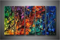 art canvas letters - Modern Five Color Line Letter Flower Oil Painting On Canvas Abstract Panel Arts Set Home Decor Wall Picture For Living Room