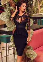 Wholesale New Europe Fashion Women s Embroidery Lace Dress Sexy Backless Dress Peplum Bodycon Party Dress Lady s Patchwork Pencil Dresses Black Red