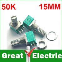 Wholesale B50K Double Pin Rotary Encoder Switch Audio Digital Potentiometer With Switch Lotus mm YXSMDZ2271