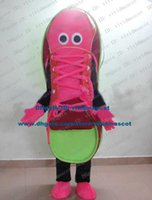 basketball mascots - Interesting Rose Red Sneaker Athletic Sports Gym Shoes Basketball Shoes Mascot Costume Cartoon Character Green Sole ZZ888 FS