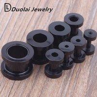 Wholesale Body Plugs Mix mm Size Stainless Steel Piercing Jewelry Screw Black Flesh Tunnel Ear Tunnel Plug