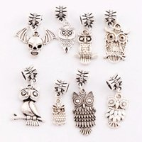 bats love heart - 160Pcs Styles Antique Silver Lucky Owl Skull Bat Charm Beads Dangle Fit European Bracelets Jewelry DIY BM21