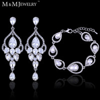 Wholesale 2016 Top Clear Crystal Bridal Accessories Wedding Jewelry Set Water Drop Earrings Bracelets Jewelry Sets EH425 SL103