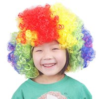 adult hair wave - Hot Sales Christmas Halloween Party Curly Hair Wig Disco Rainbow Afro Clown Hair Wig Football Fan Adult Child Costume Party Props YD0114