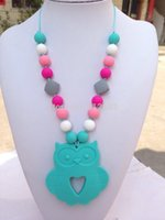 baby toy links - Silicone Teething Necklace Pendant owl Teething Toy Baby chew owl penadnt Pendant Nursing Necklace