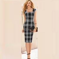 Wholesale Dress Women Summer New Sleeveless Empire High quality Black and White Plaid Sashes Pencil Skirt New Arrival