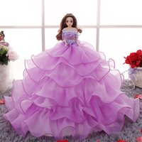 baby doll evening dresses - Doll Wedding Dress Luxury Crystal Lace Bride Wedding Doll Evening Ball Gown Decoration Barbie Doll Toy