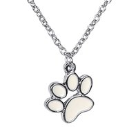 angels pet - handmade Paw Print Necklace enamel Pet Puppy Dog Paw Necklace Bear Cat pet Lover Paw Necklaces Decoupage Animal Paw Print Necklaces
