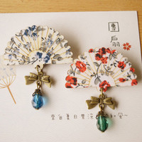 african glass beads - Japan Style Floral Print Wooden Fan Glass Bead Pendant Brass Bowknot Brooch Pin for Women Girls Hand Vintage Jewelry nz06