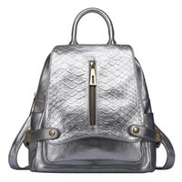 Wholesale Womens Backpack Bags Genuine Leather for Traveling Fashion Serpentine School Bags for Girls High Quality Black Sliver CH800006