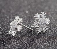 allergies to flowers - Tremella nail women sweet set auger snowflake earrings small lovely Christmas earrings earrings to prevent allergies