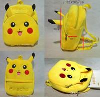 Wholesale New Poke Go backpacks Pikachu Plush Backpacks Poke Go Schoolbags for kids Pikachu Backpacks Christmas Gift FAST D684