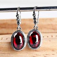 asian handbags - Jimei silver silver blue corundum Ruby Garnet Earrings retro Oval Earrings Jewelry Earrings Korean fashion handbags