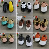 Wholesale Fashion style Genuine cow leather baby toddle mocs summer walking sandals color options size ranges from cm to cm