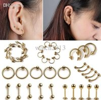 Wholesale x Golden Body Jewelry Piercing Tongue Belly Lip Eyebrow Nose Ear Barbell Rings