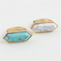 Wholesale Fashion Geometry Blue Turquoise Wedding Ring Retro Punk Natural Stone Gold Plated for Women Fine Jewelry