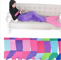 Wholesale New Colors Soft Handmade Mermaid Tail Fleece Blanket Lap Throw Bed Wrap Fin Warm Cocoon Costume Girls Kids Children Sleeping Bag MC0276