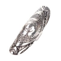 armor antiques - 2016 Vintage New Unique Punk Rings Ethic Antique Bronze Silver Carved Long Joint Totem Armor Rings Gypsy Boho Jewelry